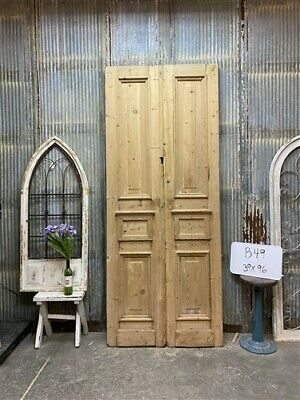 Thick Molding, Antique French Double Doors, European Doors, Tall Pair B49