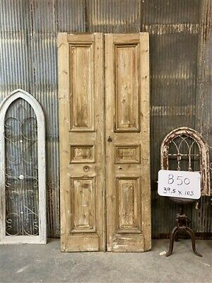 Thick Molding, Antique French Double Doors, European Doors, Tall Pair B50