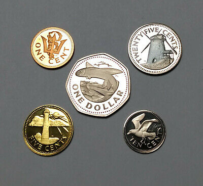 1973 Barbados Proof Coins Franklin Mint Dollar 25 Cents 10 Cents 5 Cents 1 Cent