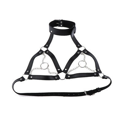 HANDCRAFTED Wicked Black Leather Body Harness bra Size 8-14 har6blk