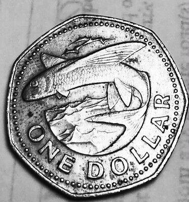 1973 Barbados one Dollar excellent condition. Very detailed.
