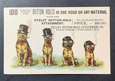 Sewing Advertising Card- Dapper Dogs in Top Hats Smoking Cigars