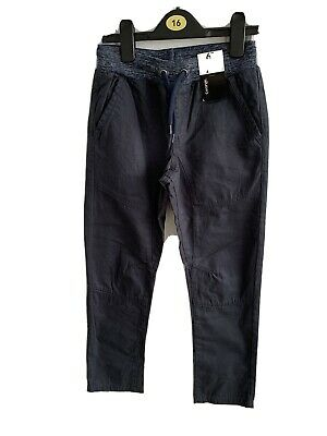 BNWT GEORGE BOY'S NAVY CANVAS JEANS AGE 8-9 Yrs