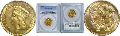 1874 $3 Gold Coin PCGS MS-62
