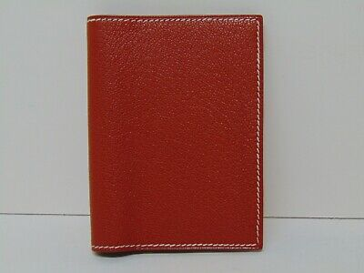 Hermes Paris Authentic Brown Leather Flap Notepad Notebook Planner Agenda Cover