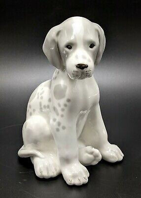 USSR Russian Lomonosov Porcelain Gray Spotted Puppy Dog  Large Figurine
