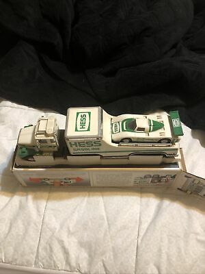 Hess 1988 Toy Truck and Racer, In Box A Little Dusty From Being Displayed