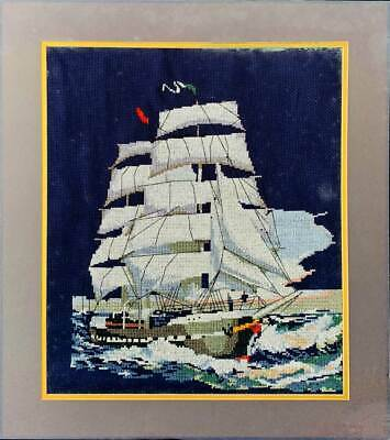 Charles W Morgan Whale Ship Vintage Needlepoint Square Rigger Boat American Flag