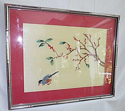 Silk Embroidery Vintage 50s Asian Ornithology Bird Pecking Fruit Oriental Framed
