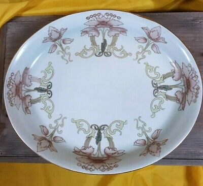 Large antique Art Nouveau Platter in duck egg blue with stylized flowers C. 1900