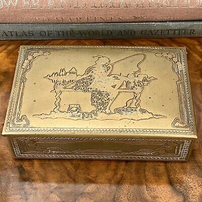 Art Nouveau Jugendstil Brass Humidor Woman Fishing on Lake Sailboat Trinket Box