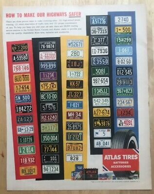 VINTAGE  1957 ATLAS TIRES magazine advertisement with US & Canada License Plates