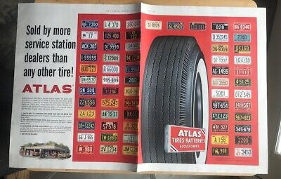 VINTAGE  1960 ATLAS TIRES magazine advertisement with US & Canada License Plates