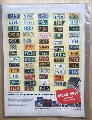 VINTAGE  1954 ATLAS TIRES magazine advertisement with US & Canada License Plates