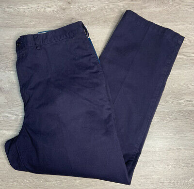 NWOT Men/'s Land's End Navy Flat Front 100/% Cotton Classic Fit Chino Pants 38x36