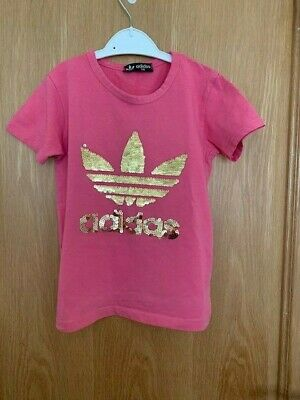 Adidas Girls Pink Sequin T Shirt Age 4/5 Years