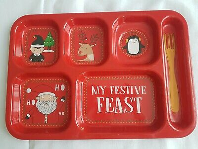 Children's 6 section food tray Christmas design