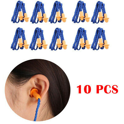 10x Anti Noise Reusable Safety Silicone Corded Ear Plugs Hearing Protect Earplug