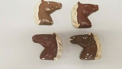 4 Handmade Plaster Horse Head Wall Plaques