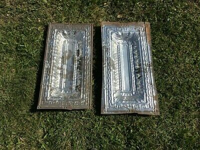 2 Ceiling Tin Panels, Vintage Reclaimed Molding, Architectural Salvage A20,