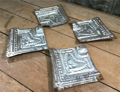 4 Ceiling Tin Corner Tiles, Architectural Salvage Reclaimed Molding Vintage C,