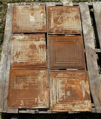 6 Ceiling Tin Panels, Vintage Reclaimed Molding Pieces, Architectural Salvage L,
