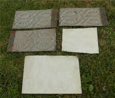 6 Ceiling Tin Panels, Vintage Reclaimed Molding Pieces, Architectural Salvage U,