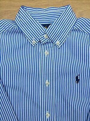 BOYS Ralph Lauren POLO BLUE STRIPE BUTTON UP SHIRT, AGE 5 YEARS