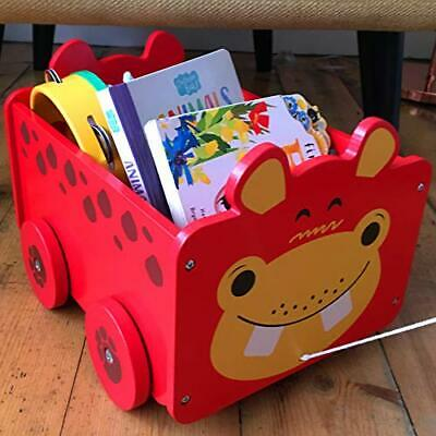 Storage Box on Wheels, Storage Chest Kids Room Tidy Wooden Box and
