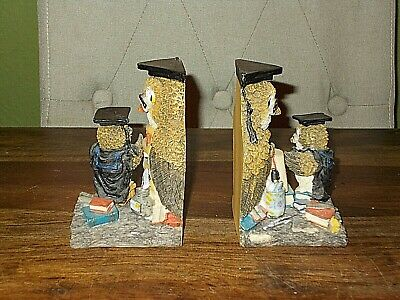 Pair of Very Detailed Resin Owl Bookends
