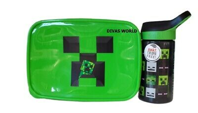 Minecraft Lunch Box & Water Bottle School Kids Creeper Lunch Food Container NEW