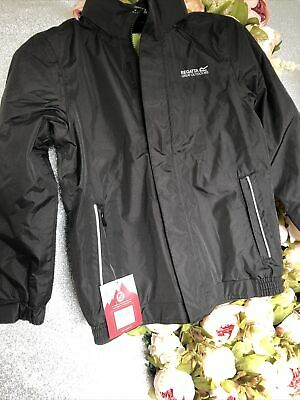 Regatta Waterproof Fleece Lined Jacket Black Age 9-10 Years Brand New