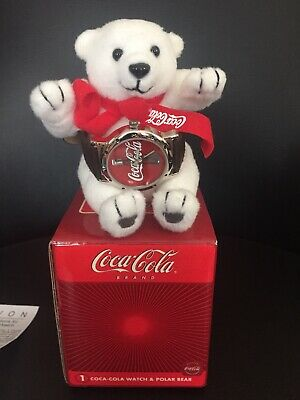 Coca Cola  2002 Collectible Analogue Coke Watch With Plush Polar Bear New In Box