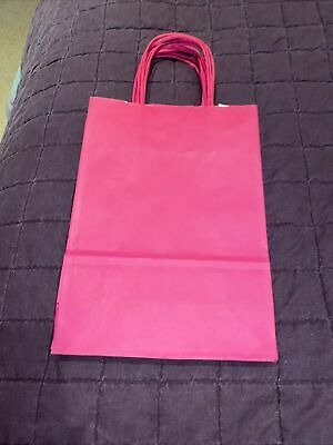 D) 5 Bright Pink Party Paper Gift Bags.