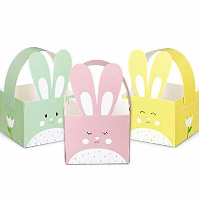 Whaline 24pcs Easter Treat Boxes Happy Easter Gift Box with Handle Cute Bunny
