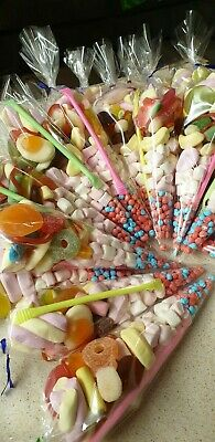 25 pre filled mixed sweet sweetie  cones kids birthday party bags