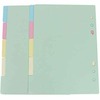 NUOBESTY 2 Sets 5 Colors Tab Dividers A5 Index Classified Lables 6-Holes Filler