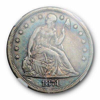 1871 $1 Seated Liberty Dollar NGC VF 35 Very Fine to XF Blue Toned Beauty !
