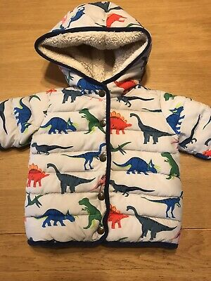 Baby Boden Dinosaur Winter Coat Lined Puffer Style Hooded Jacket 12-18 Months