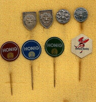 8 old dutch badges / stickpins with bees