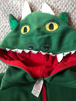 Mini boden Green Dragon Boys Girls Animal character One piece suit 11-12