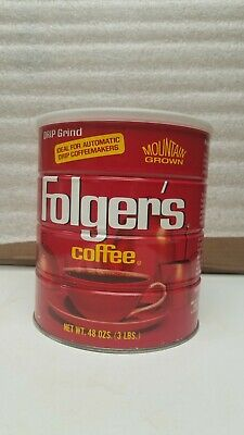 Vintage 3 Lb Folger's Coffee Can Metal with Lid