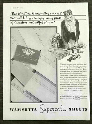1936 Wamsutta Supercale Sheets Christmas PRINT AD Woman Wrapping Presents