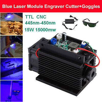 DIY Focusable 15W 450nm 15000mW Blue Laser Module Fan 12V TTL with Free Goggles