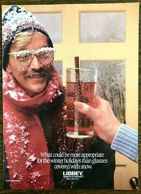 1987 Libbey Glassware PRINT AD Winter Holidays Glasses Covered With Snow