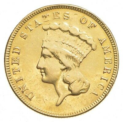 1858 $3.00 Indian Princess Head Gold Three Dollars *0424