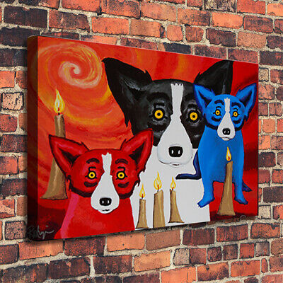 HD Print Blue Dog Home Art Wall Decor Animals Oil Painting on Canvas 16x22
