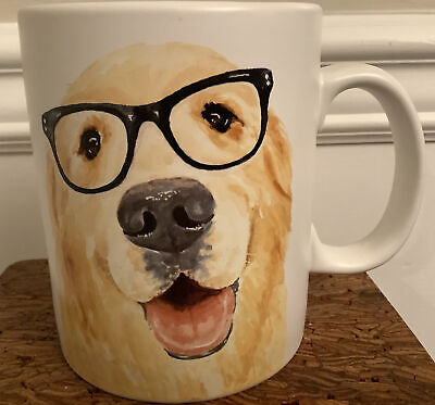 Primitives By Kathy Golden Retriever With Black Glasses  Large Mug Very Nice!