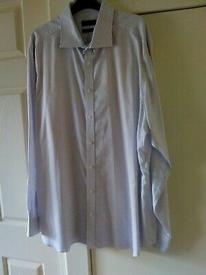 "Mens John Lewis White w Purple Check Long Sleeved Shirt. 18"" 46cm, Tailored Fit."