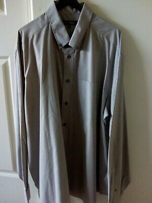 Mens M&S Brown with White Stripes Long Sleeved Shirt. XXL. Marks and Spencer